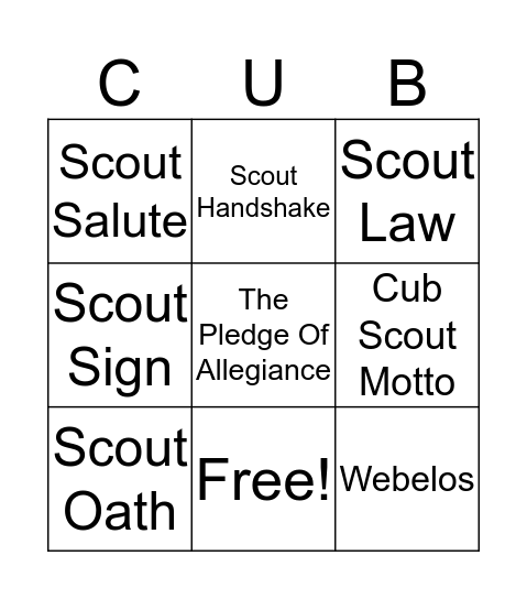 Bobcat Badge Bingo Card