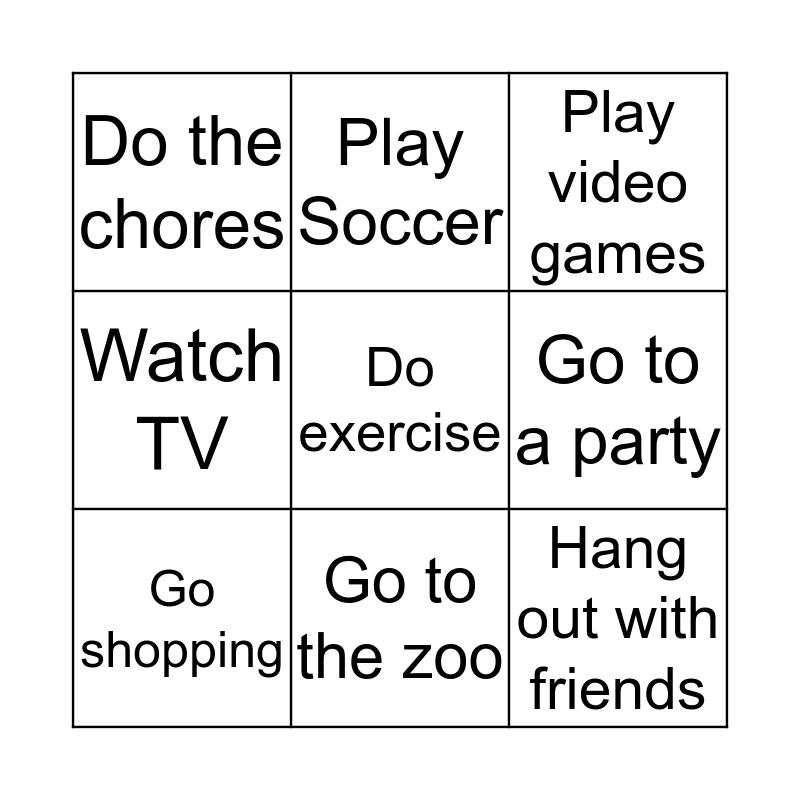 Weekend Activities Bingo Card