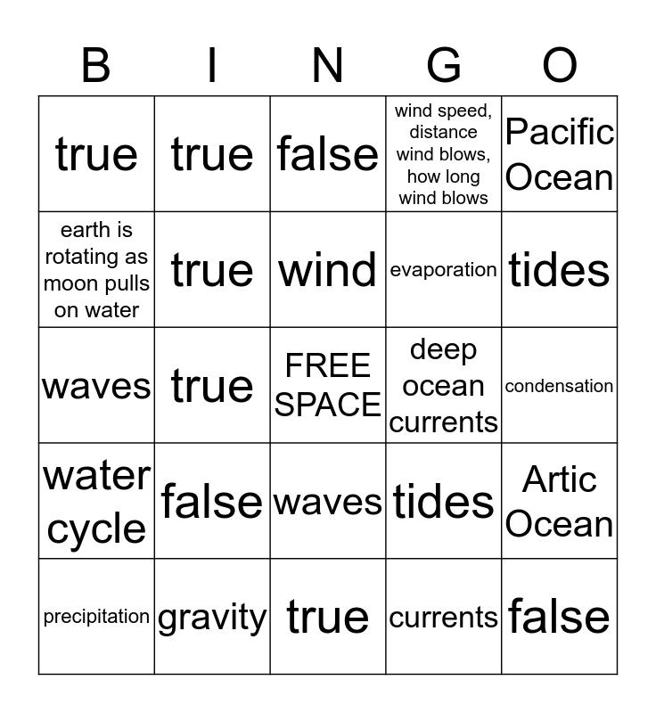 Science Review  Bingo Card