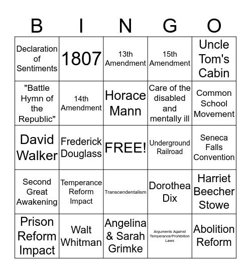 Reform/Culture Bingo Card