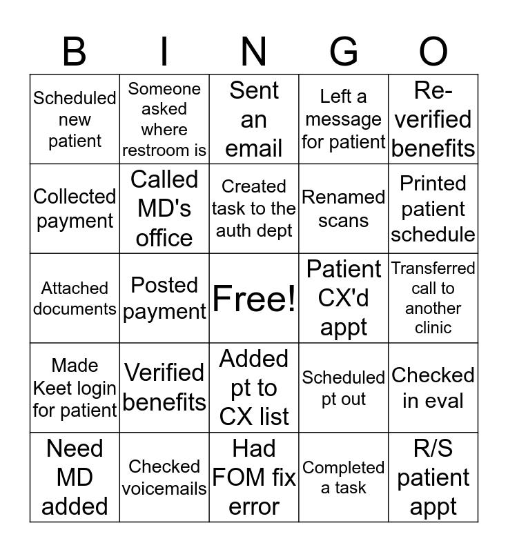 Front Office Bingo! Bingo Card
