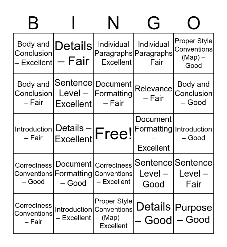 Assignment 2 Bingo Card