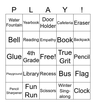 BACK TO SCHOOL! Bingo Card