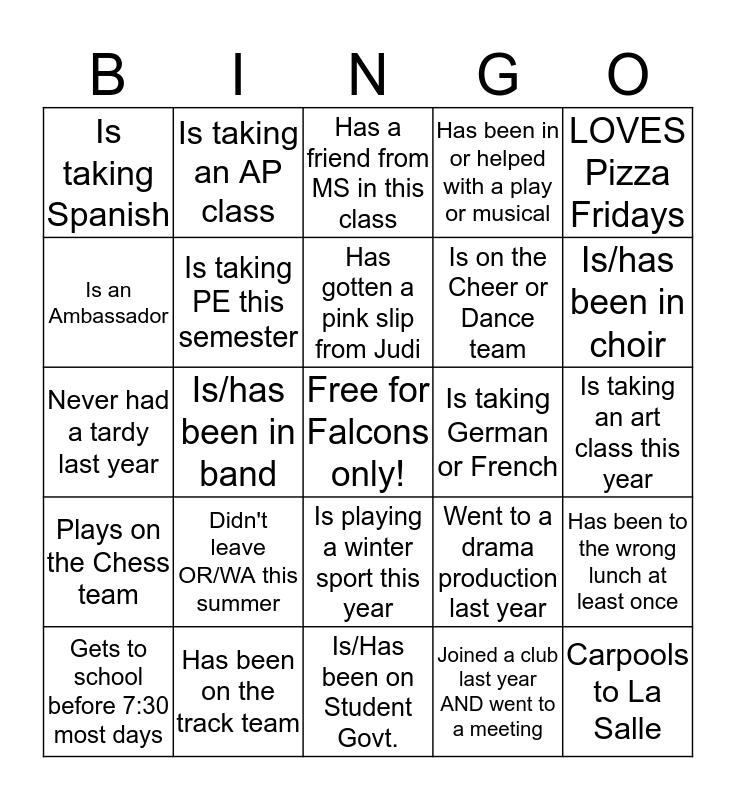 First Day Lasallian Bingo! Bingo Card