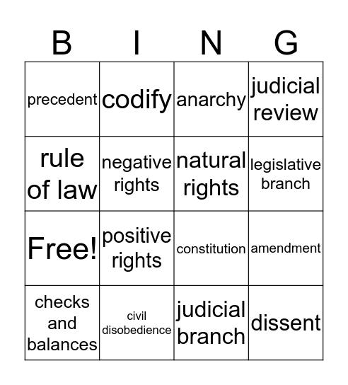 Law and Justice Vocab 1 Bingo Card