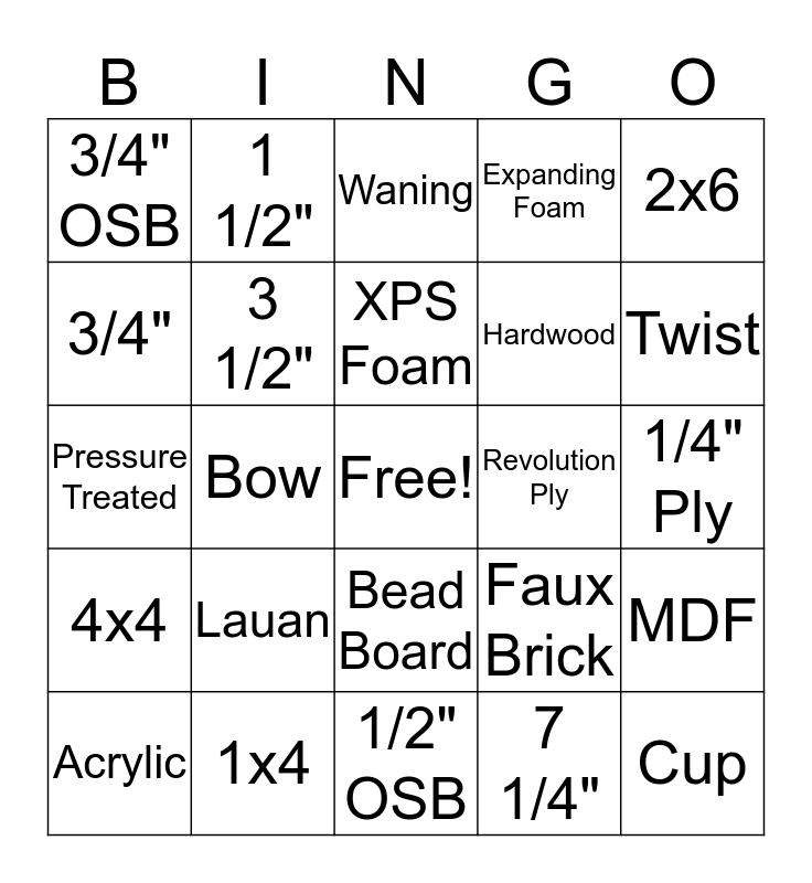 Materials Bingo Card