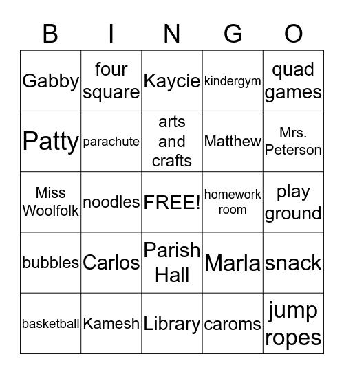 EDP Bingo Card
