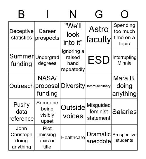 SESE Colloquium Bingo Card