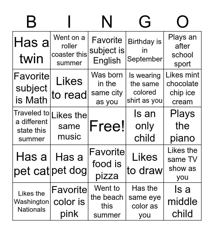 7th Grade Human Bingo Card