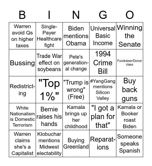 2020 Democratic Primary Debate Bingo Card
