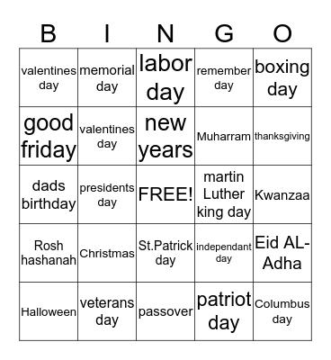 Holidays Bingo Card