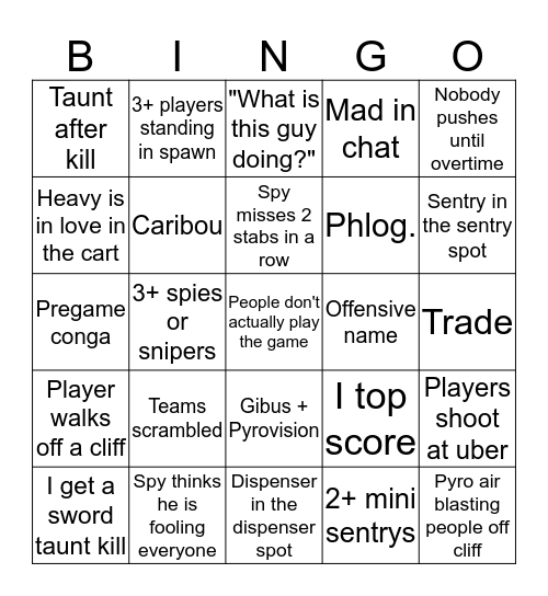 Tf2 Bingo STAR_ Bingo Card