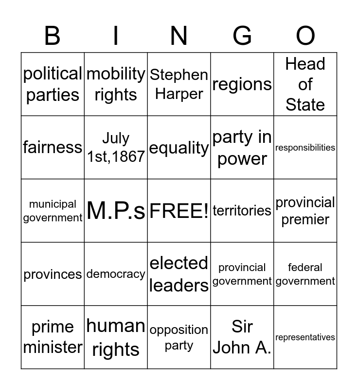 Canadian Citizenship Bingo Card