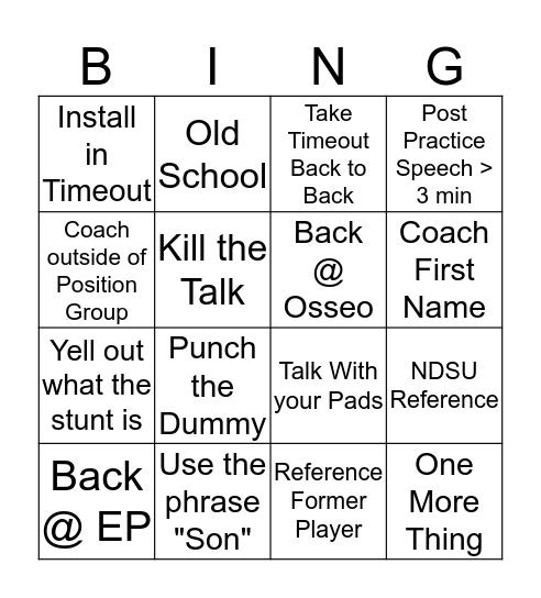 Greengo Bingo Card