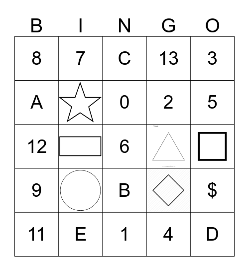 Shape, Number, Letter Recognition Bingo Card
