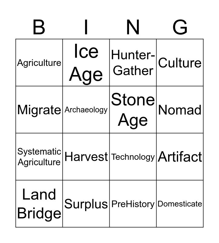 Social Studies Stone Age Vocabulary Bingo Card