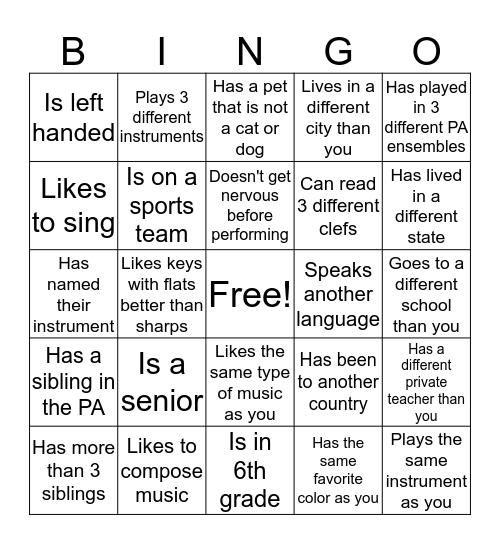 Musician Bingo Card