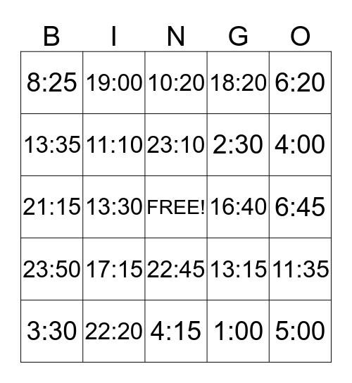 Bingo Tijd Bingo Card