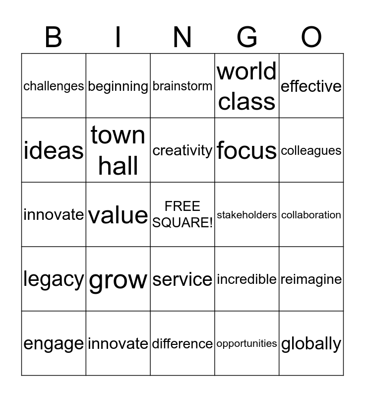 Words at Work Bingo Card
