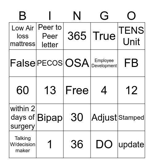 Apria Bingo Card