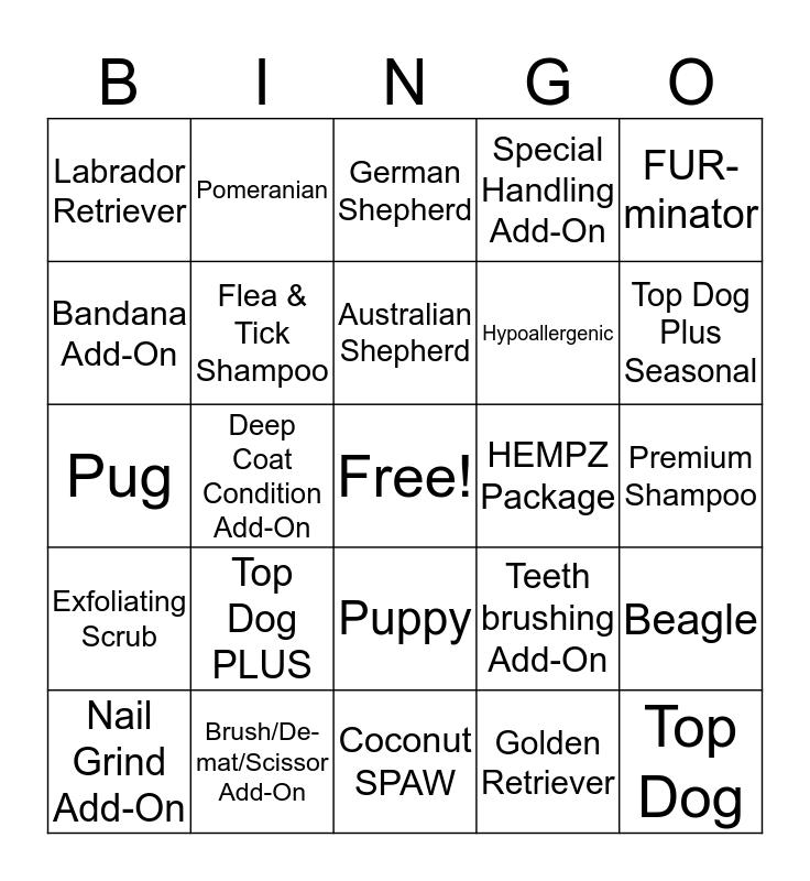 Grooming Bingo! Bingo Card