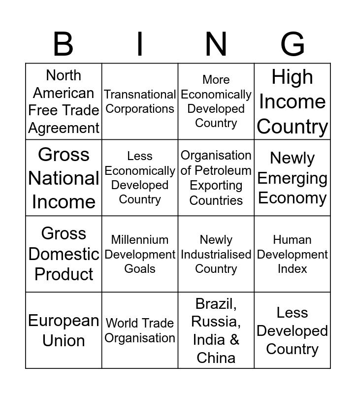 Development & Globalisation Acronym Bingo Card