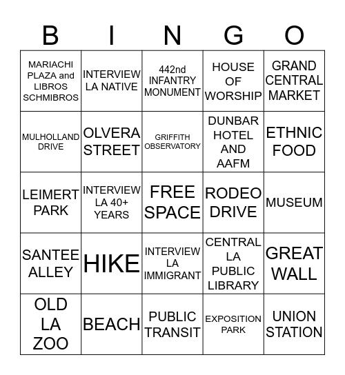 Los Angeles Bingo Card