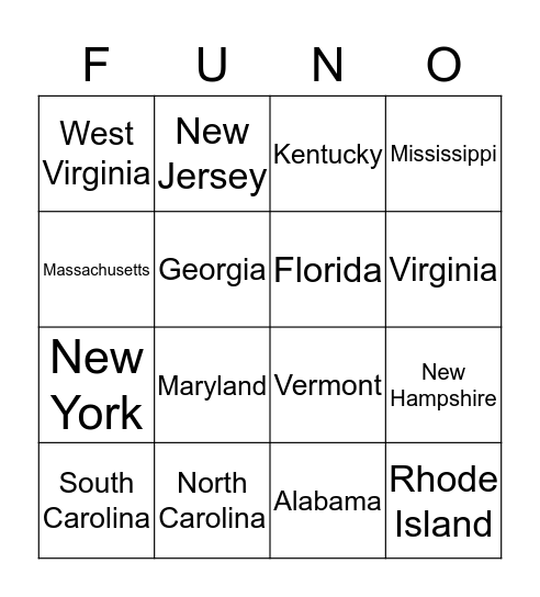 Eastern Sates Bingo Card
