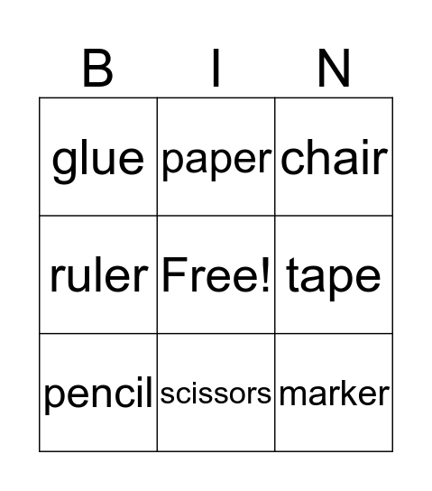 School Supplies Bingo Card