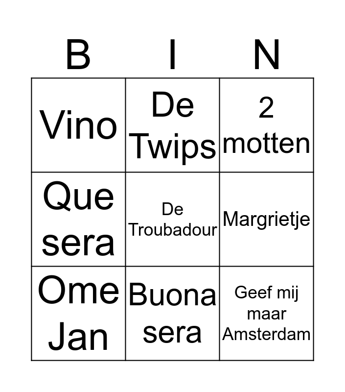 Waterige Bingo 5 Bingo Card