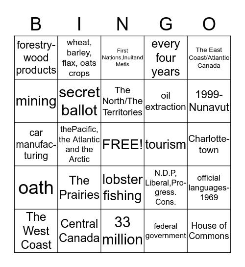 Canadian Citizenship Bingo Card