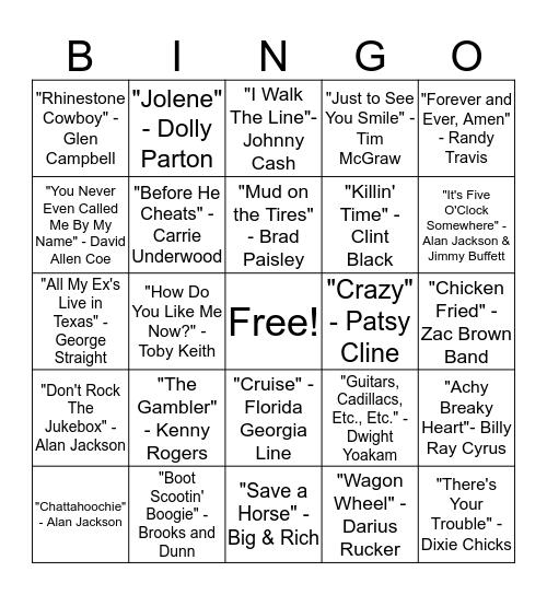 BINGO SINGO - COUNTRY Bingo Card