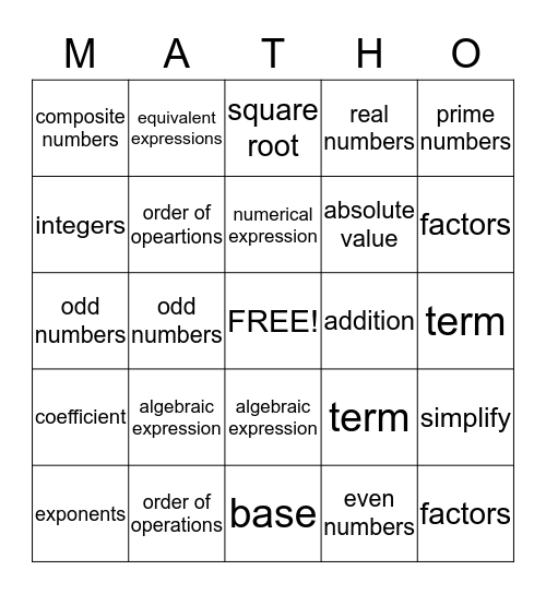 MATH VOCABULARY  Bingo Card