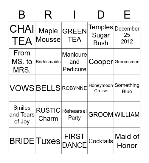 Robynne's Bridal High Tea Bingo Card