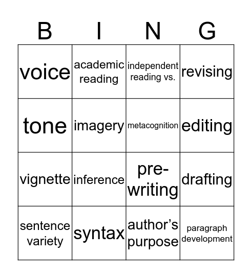 Unit 1 Vocabulary Bingo Card