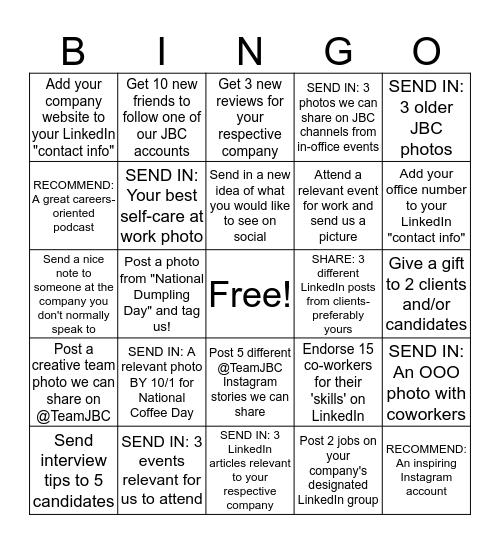 JBC Social Bingo Card