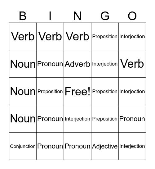 Parts of Speech Bingo Card