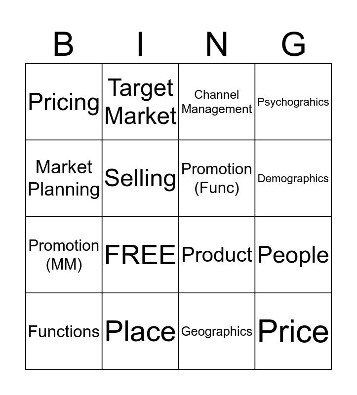 Functions of Marketing Bingo Card