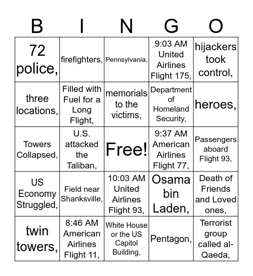 Remembering 9/11 Bingo Card