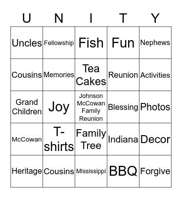 Johnson/McCowanFamily Reunion Bingo Card