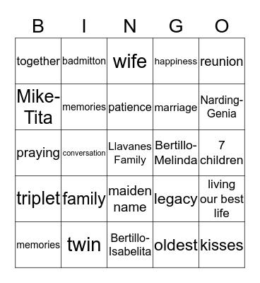 FAMILY REUNION Bingo Card