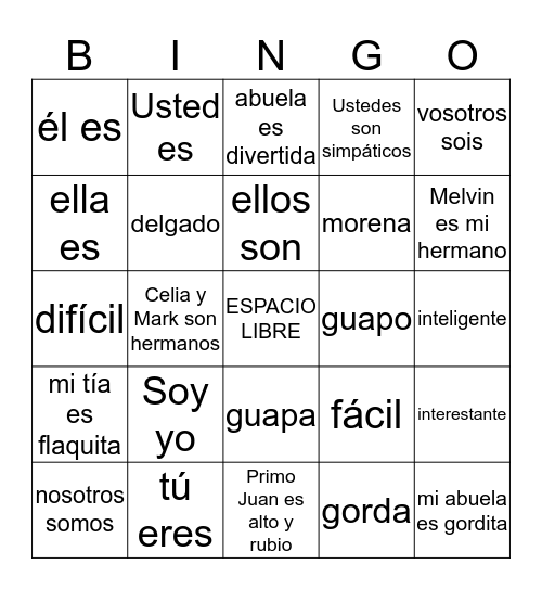 BINGO ser adjetivos y familia Bingo Card