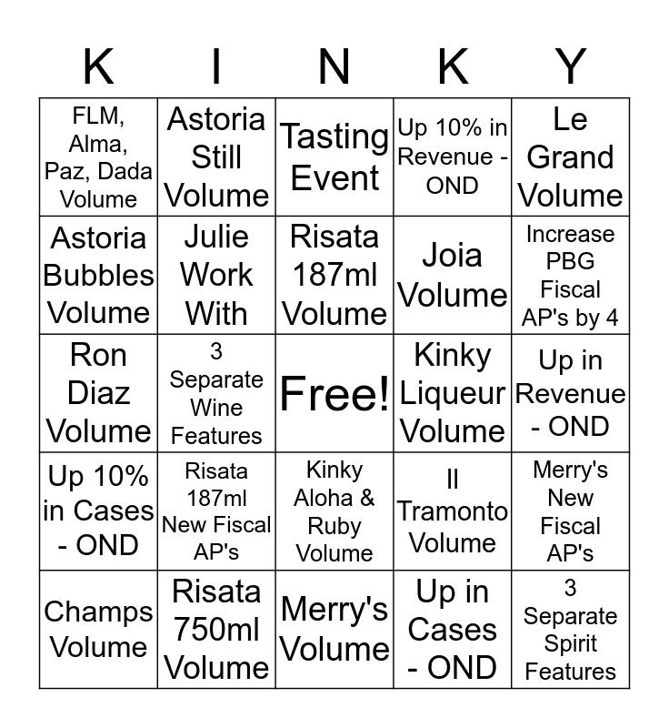 OND Prestige Bingo Card