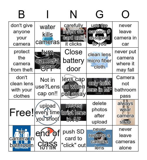 Camera Safety Bingo Card