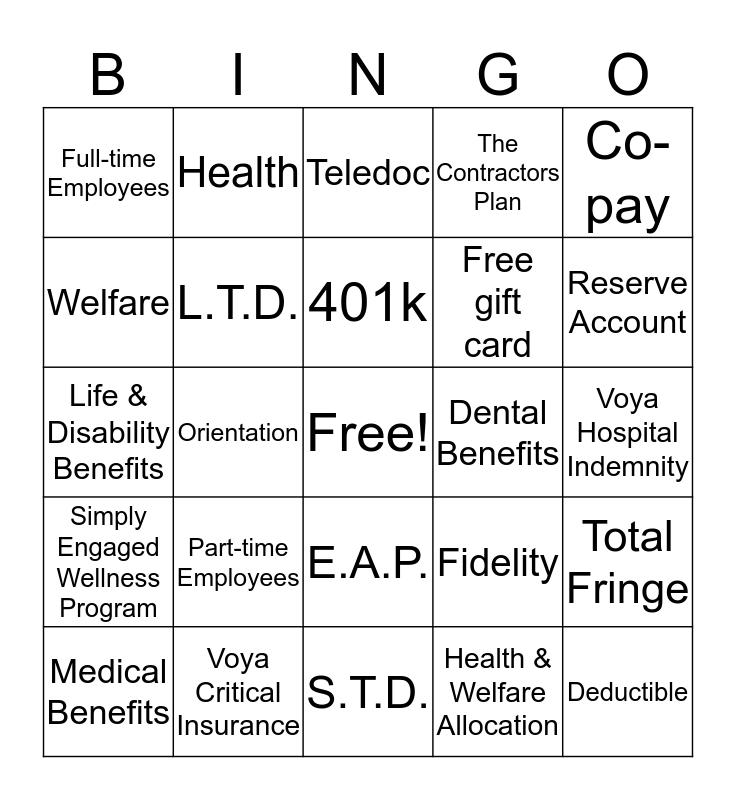 Benefits BINGO Card