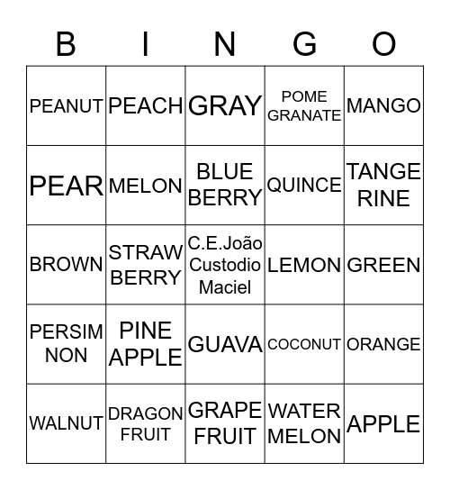 COLORS AND FRUITS Bingo Card