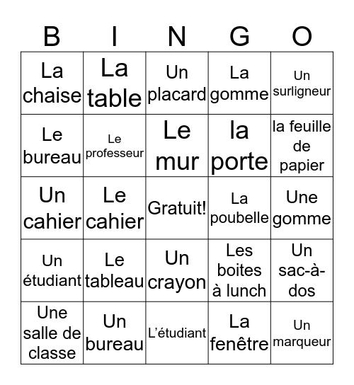 La Salle de Classe Bingo Card