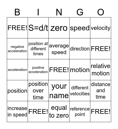 Motion and Forces Bingo Card