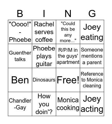 Friends - Season 2, Episode 3 Bingo Card