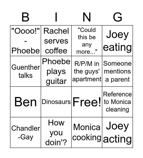 Friends - Season 2, Episode 3 Bingo Card